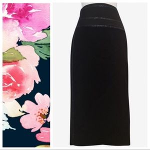 Karen Millen Black Jacquard Pencil Skirt Sz S NWOT